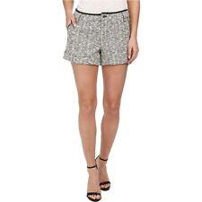 NWT $348 Sz 6 REBECCA MINKOFF Andy Shorts Tweed Leather Trim Boucle Black White