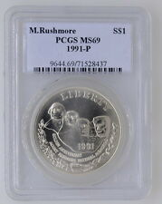 1991 P United States Miount Rushmore PCGS MS 69 Silver Dollar Coin $1