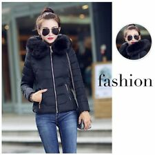 New Women Girl Winter Short Down Cotton Warm Jacket Fur Collar Hooded Coat Parka