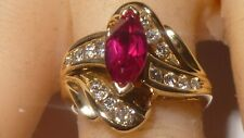 Leer Gem LTD LGL 10K Yellow Gold Ring Marquise Ruby 0.45 CT Channel Set Diamonds
