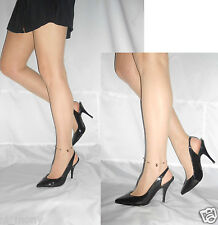 Women Black Patent Slingback Shoes Elegant Ankle Strap Faith Size 7