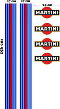 2 x Le Mans Martini style Stripe 156 cm x 17cm & 4 x Logos Sticker decal A648LK