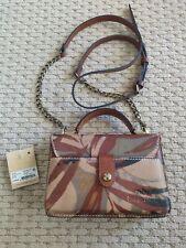 "Women's PATRICIA NASH PalmLeaves Small Chic Crossbody Bag 7""/5""/2"" Brown Multi"