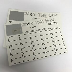 1- 30 NUMBER (NOT TEAM) SPOT THE BALL CARDS FOOTBALL- FUNDRAISING CARDS WHITE