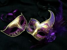 Purple Dress Party Feather Masquerade ball mask pair Bridal Wedding Event Dance