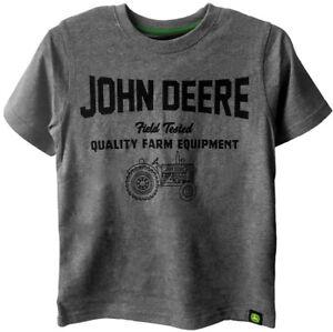 NEW John Deere Boys Gray Short Sleeve Field Tested T-Shirt  Sizes 8, 10/12