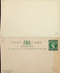 GIBRALTAR 5c QUEEN VICTORIA UNUSED POSTAL STATIONERY REPLY CARD