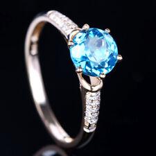 Solid 14k Yellow Gold Round Natural Blue Topaz&Diamond Engagement Gemstone Ring