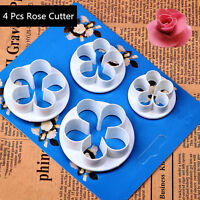 4pcs Rose Flower Cutter Mold Sugarcraft Fondant Cake Decorating Baking Mold Tool