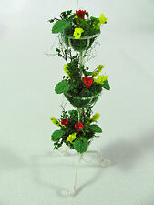 dollhouse doll house miniature RED YELLOW FLOWER POT FLOWERS 3 TIER PLANTER