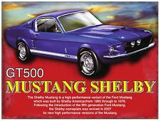Shelby Mustang GT500 Classic Muscle Car, Medium Metal/Tin Sign, Picture, Plaque