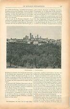 Citta Dolente San Gimignano Sienne Toscane Italie GRAVURE ANTIQUE OLD PRINT 1900
