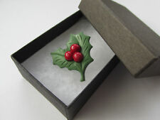 Handmade Unusual Fimo Green Holly & Red Berry - Leaf Christmas Brooch Lapel Pin