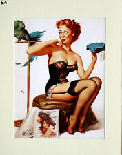 "Gil Elvgren Mounted Print  E4 - Pin-Up Art - Stockings   SIZE  14"" X 11"""