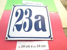 Hausnummer Nr. 23a blaue Zahl auf weißem Hintergrund 14 cm x 14 cm Emaille