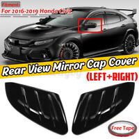 For Honda Civic 2016-2020 10th Side Door Rearview Mirror Cover Trim Cap Black