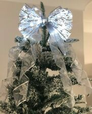 LED Christmas Tree Top Bow with trailing tails choice of 3 colours