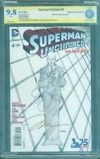 Superman Unchained 4 CBCS 2X SS 9.8 Lee Snyder Retailer Sketch 1 Variant up CGC