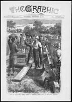 1879  Antique Print AFRICA Zulu War Peace Bridge Royal Engineers Soldiers (280)