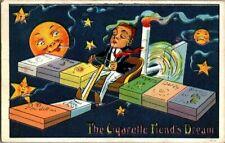 """1910. """"THE CIGARETTE FIEND'S DREAM"""" MOON & STARS. POSTCARD xz2"""