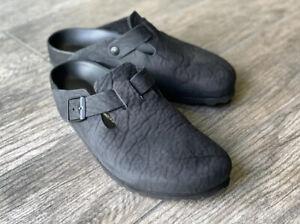 Birkenstock Boston Black Clogs Exquisite Leather Size 44 / US 11 Narrow (Soft)
