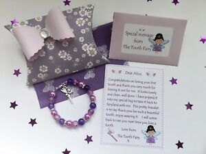 Personalised Tooth Fairy Letter, Bracelet, Gift Box, Tooth Fairy Gift, Purple