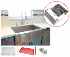 """33"""" Stainless Steel Curve Apron Kitchen Farm Sink Combo"""