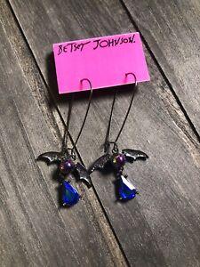 BETSEY JOHNSON BAT hematite tone bead and crystal drop earrings NWT $42