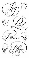 Inkadinkado Clear Stamps - Calligraphy Expressions - Christmas, Joy, Love, Peace