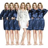52f942135e Set of 7pcs Solid plain satin robe Bridesmaid robes gowns bride wedding  robes US