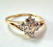 Beautiful Solid 14K Yellow Gold Diamond Cluster Promise Engagement Ring size 4