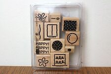 New Stampin' Up Polka Dot Party Rubber Stamp Set - Wood mounted - birthday gifts