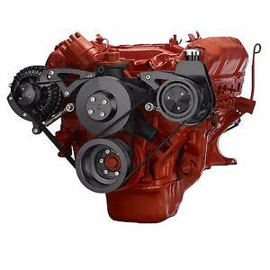 Black Mopar Big Block Serpentine Pulley Conversion Ki440 Chrysler Power Steering