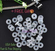26pc White Rubber Stopper Rings Spacer Bead Charm Fit European Bracelet no metal