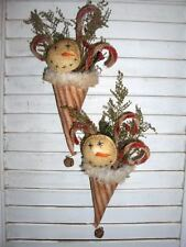 2 Primitive Santa Hats /Cones with Snowman face, Sweet Annie and Red Pip Berries