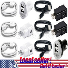 USA Wall Charger USB Cable Car Charger For Samsung Galaxy S7 S6 S4 Edge Note 4 x