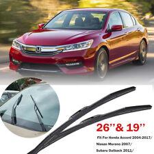 26''&19'' Windshield Wiper Blade Fit For Honda Accord 2004-2017/Nissan Murano 07