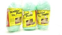 Lot of 3 Knittin' Pretty Baby Green 36 oz Economy Skein 4 Ply Worsted Vintage