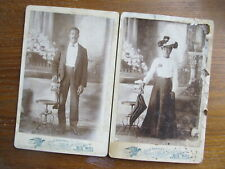 "RARE PAIR (2) Wedding Cabinet ""RAILROAD PHOTOS"", DRESSY African Americans, c1880"