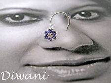 Real Iolite & Diamond Flower 14kGold Wedding Nose Pin Piercing Jewelry Stud Ring