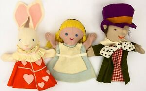 1965 Alice In Wonderland Set Of 3 Hand Puppets: Alice, Mad Hatter, White Rabbit