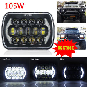 105W Osram 5x7'' 7x6'' LED Headlight Hi-Lo Beam Halo DRL For Jeep Cherokee XJ YJ