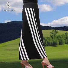 SHARON TANG Modest Apparel Long Black White Stripe Knit Skirt M ST132080014-16