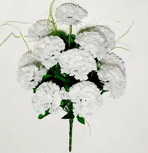 """12 White Carnation 17"""" Bush Silk Flower Home Indoor Outdoor Year-round Decor US"""