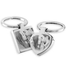His and Hers PHOTO ENGRAVED Keyrings set, personalised Valentine's day Gift