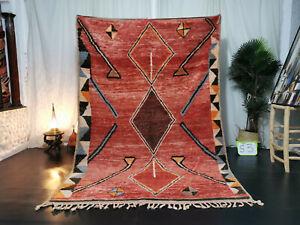 Tribal Moroccan Boujad Handmade Rug 5'9x8'5 Berber Geometric Red Shades Wool Rug