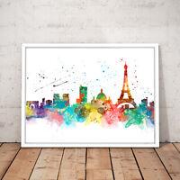 Paris France Cityscape Watercolour Decor Art Poster Print - A3 A2 A1 A0 Framed