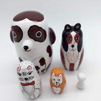 DI 5Pcs//Set Hand Painted Lion Animal Wooden Nesting Dolls Matryoshka Figurines