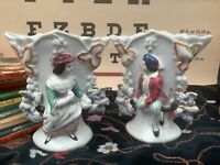 Antique German Porcelain Figural Pair of Fan Shape Vases. Numbered. Repaired