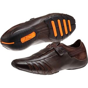Puma Vedano Mens 303811-02 Coffee Brown Leather Hook-and-loop Shoes Size 8 M